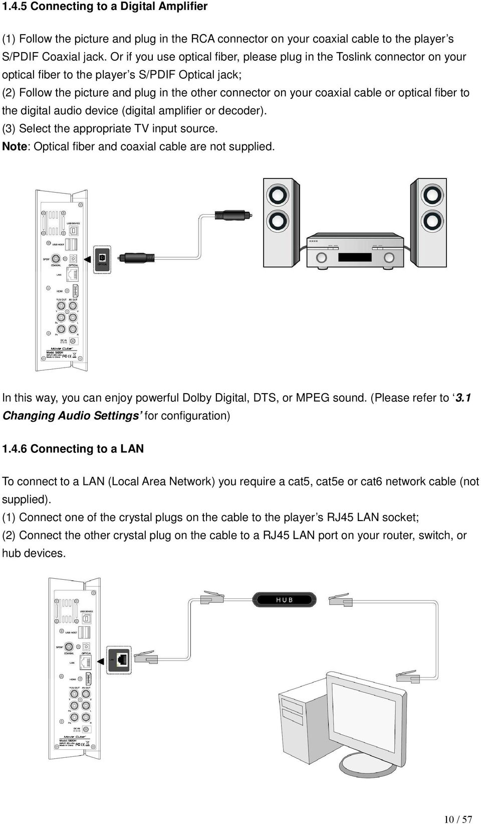 cable or optical fiber to the digital audio device (digital amplifier or decoder). (3) Select the appropriate TV input source. Note: Optical fiber and coaxial cable are not supplied.