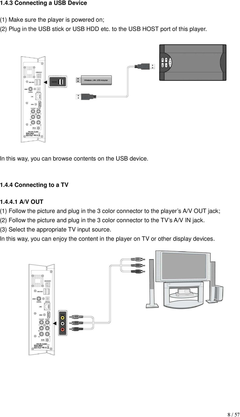 4 Connecting to a TV 1.4.4.1 A/V OUT (1) Follow the picture and plug in the 3 color connector to the player s A/V OUT jack; (2) Follow
