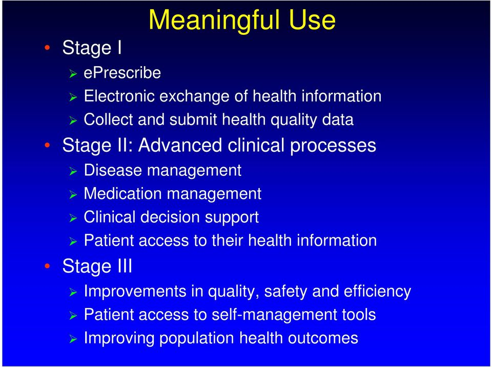 Clinical decision support Patient access to their health information Stage III Improvements in