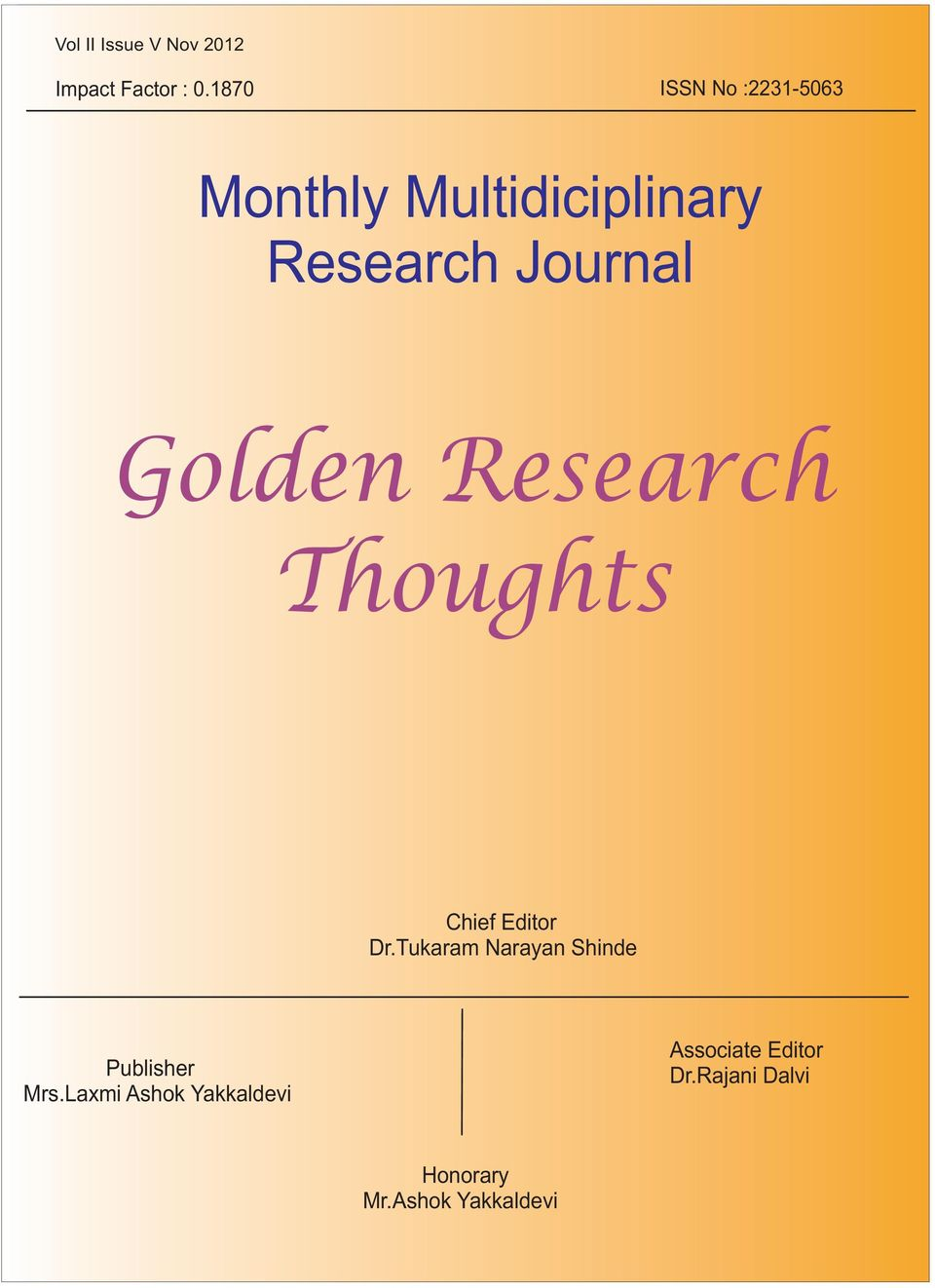 Research Journal Golden Research Thoughts Chief Editor Dr.