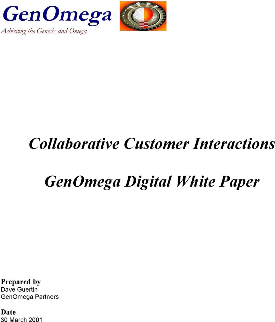 Digital White Paper Prepared by Dave