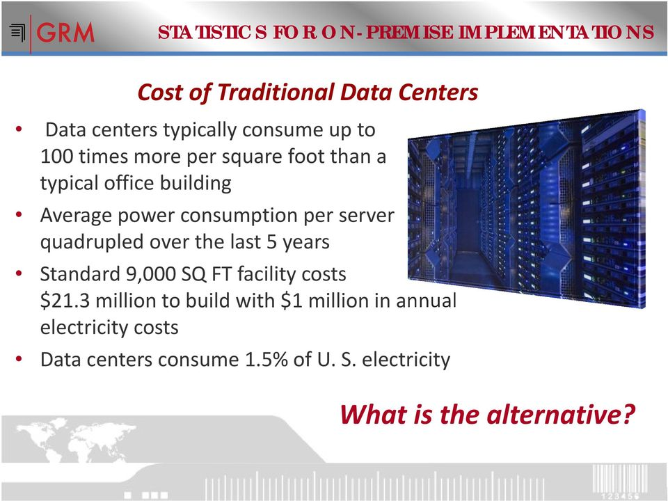 per server quadrupled over the last 5 years Standard 9,000 SQ FT facility costs $21.