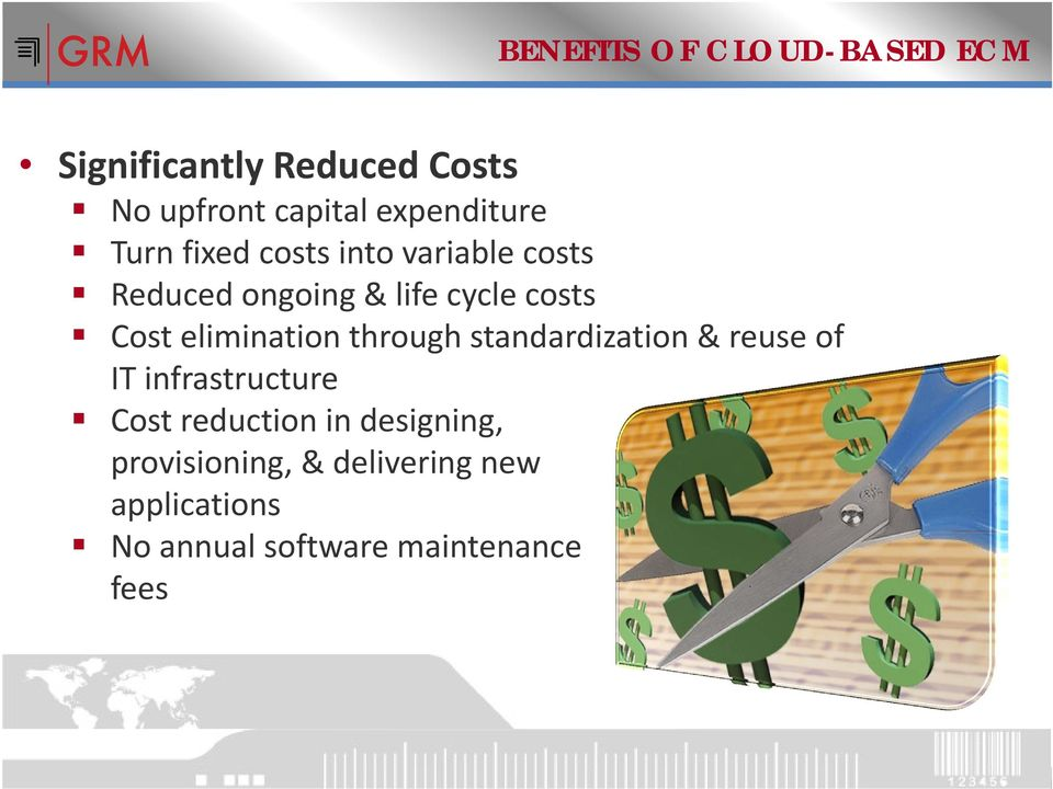 Cost elimination through standardization & reuse of IT infrastructure Cost reduction