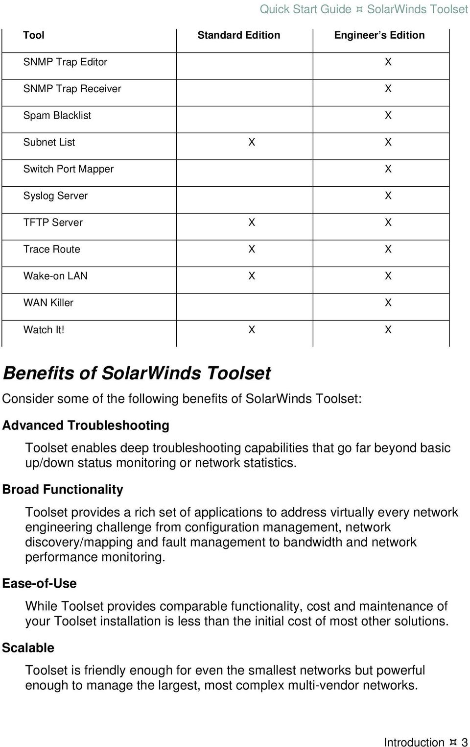 Benefits of SolarWinds Toolset Consider some of the following benefits of SolarWinds Toolset: Advanced Troubleshooting Toolset enables deep troubleshooting capabilities that go far beyond basic