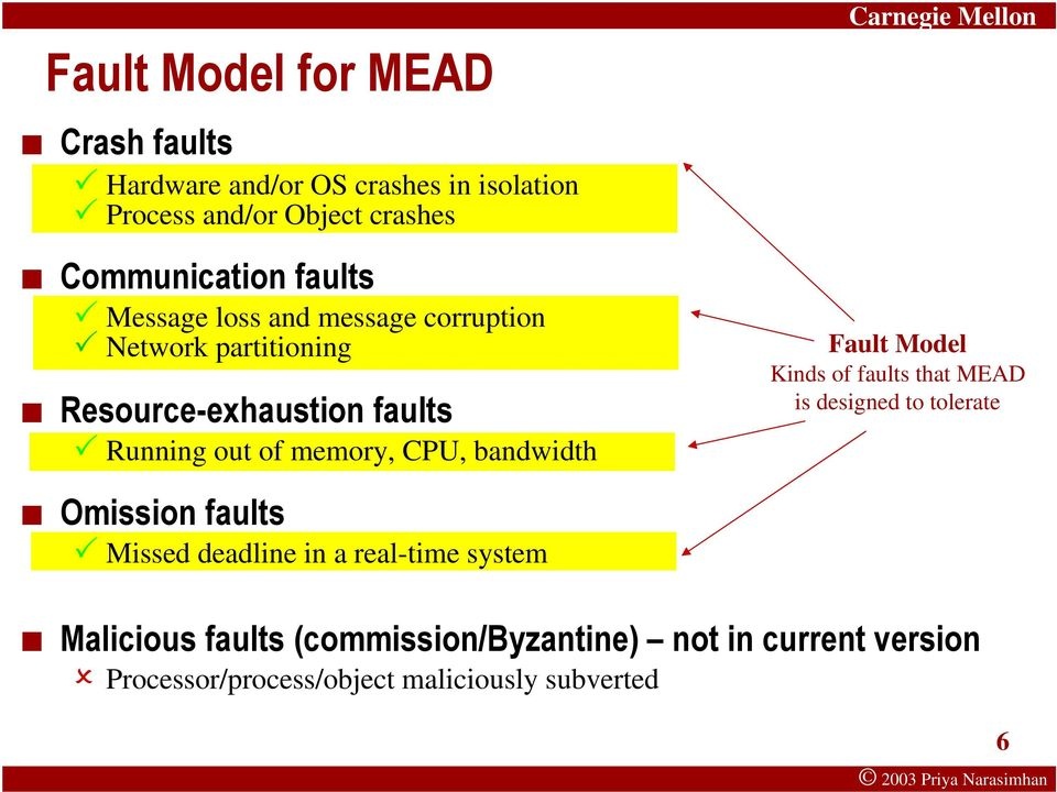 bandwidth Fault Model Kinds of faults that MEAD is designed to tolerate Omission faults Missed deadline in a real-time