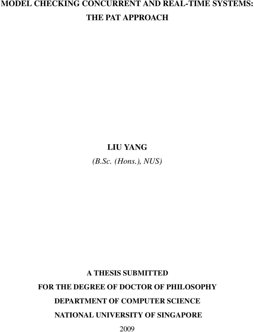), NUS) A THESIS SUBMITTED FOR THE DEGREE OF DOCTOR OF