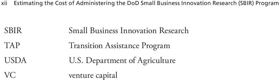 USDA VC Small Business Innovation Research Transition