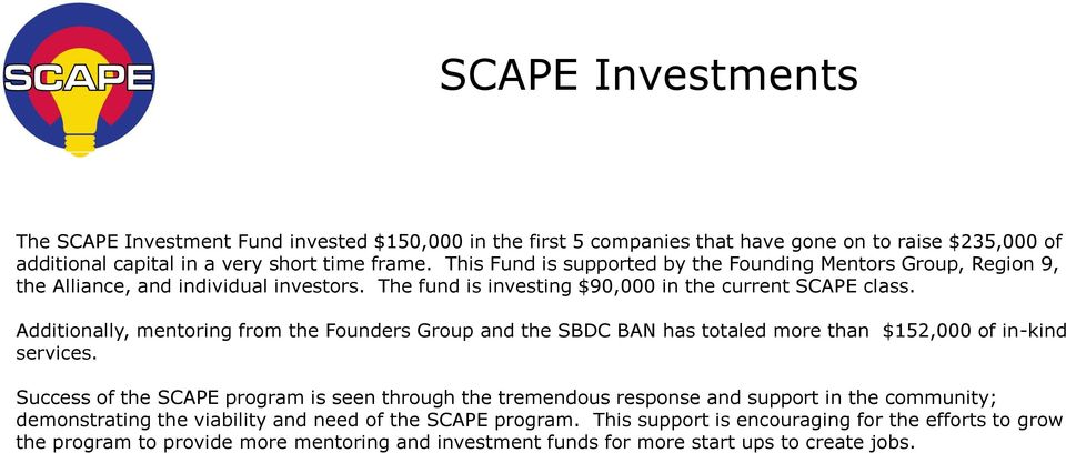 Additionally, mentoring from the Founders Group and the SBDC BAN has totaled more than $152,000 of in-kind services.