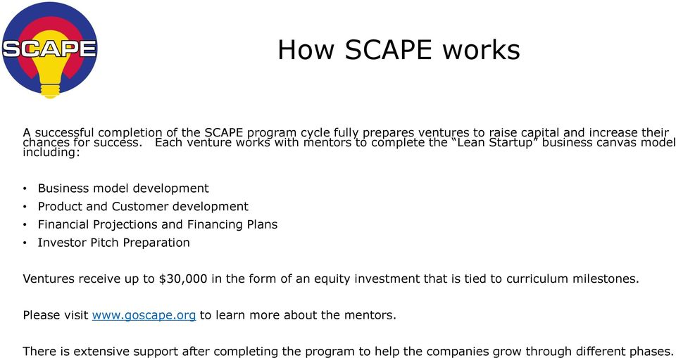 Financial Projections and Financing Plans Investor Pitch Preparation Ventures receive up to $30,000 in the form of an equity investment that is tied to