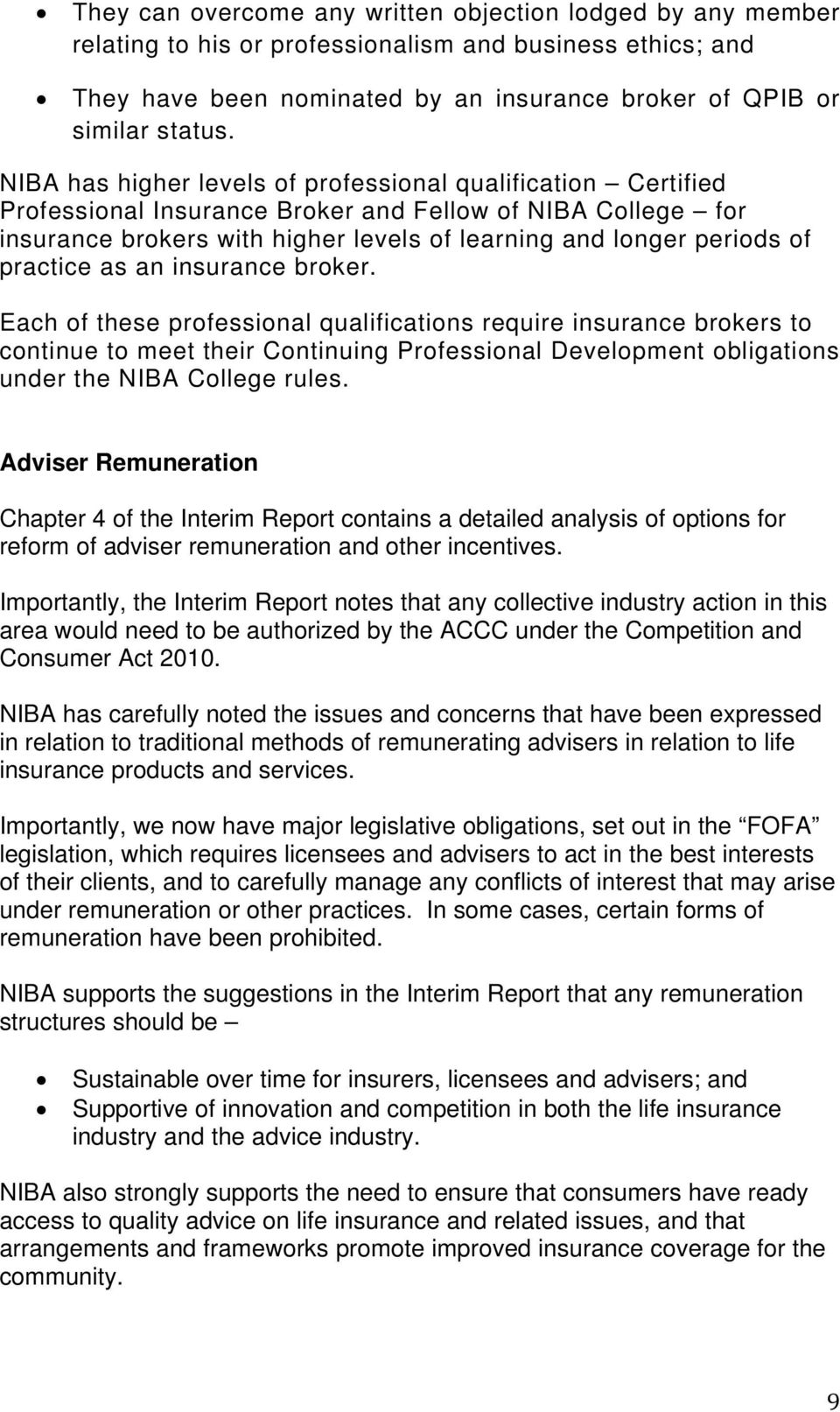 practice as an insurance broker.