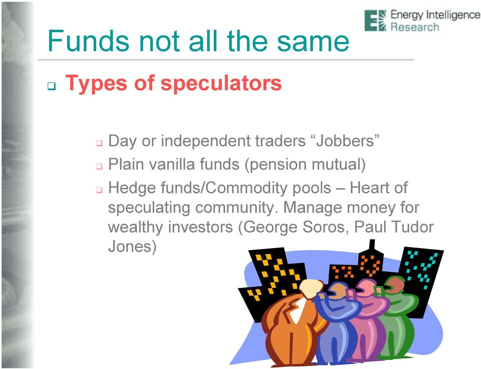 mutual) Hedge funds/commodity pools Heart of speculating