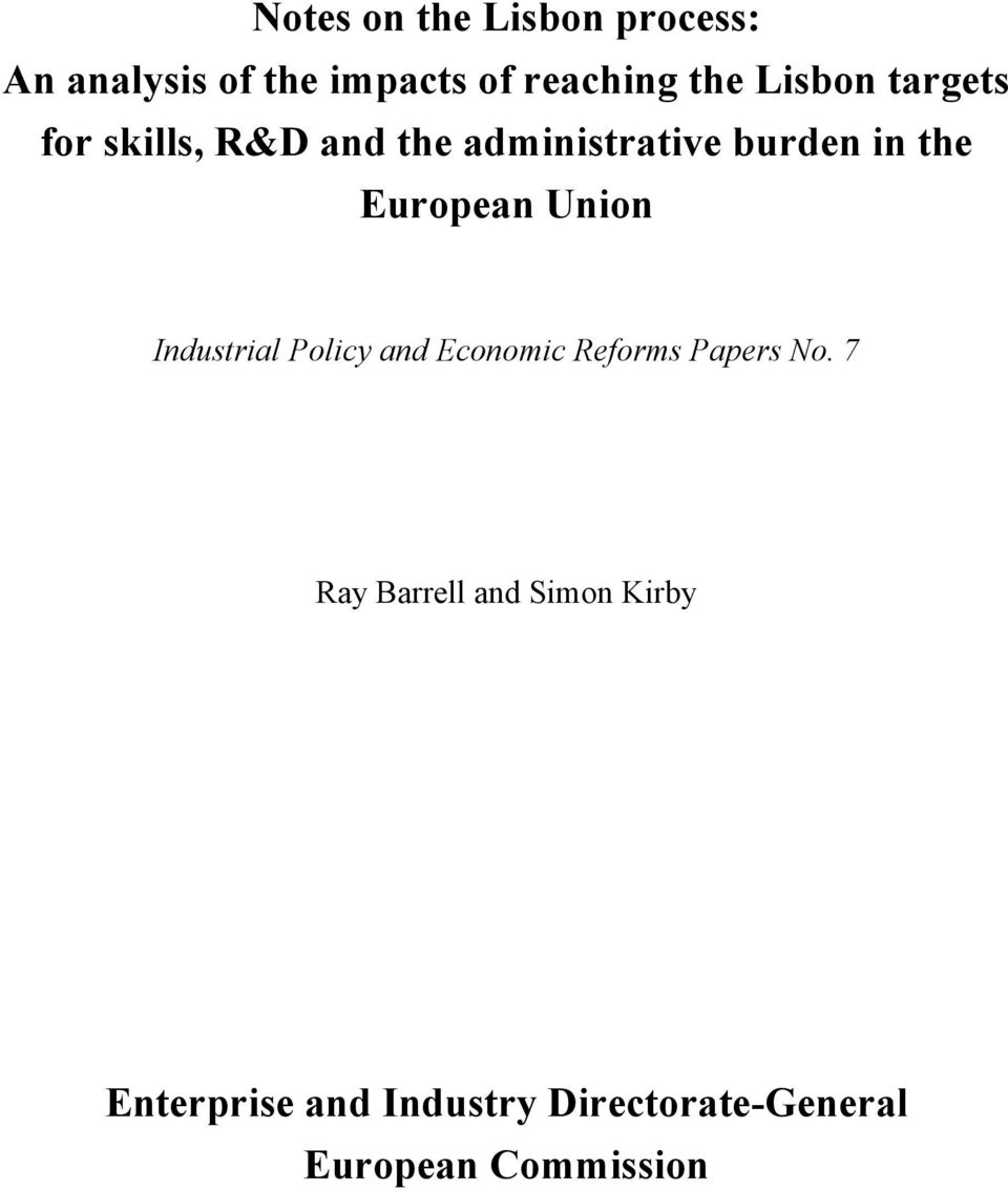 European Union Industrial Policy and Economic Reforms Papers No.