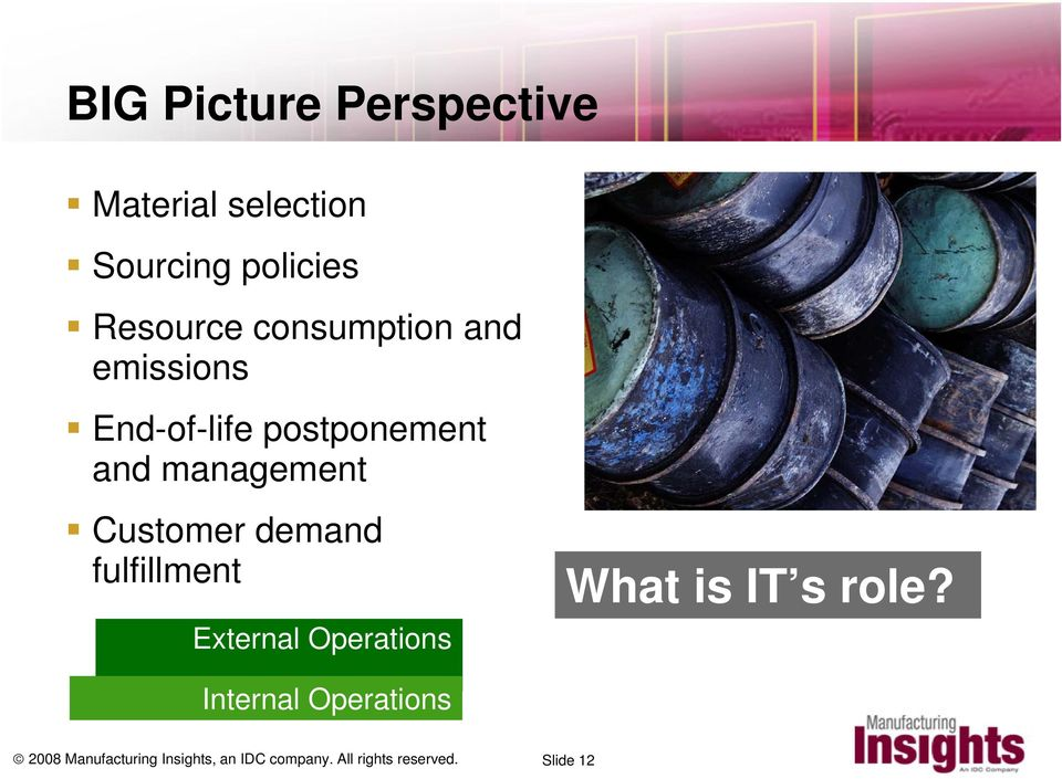 demand fulfillment External Operations What is IT s role?