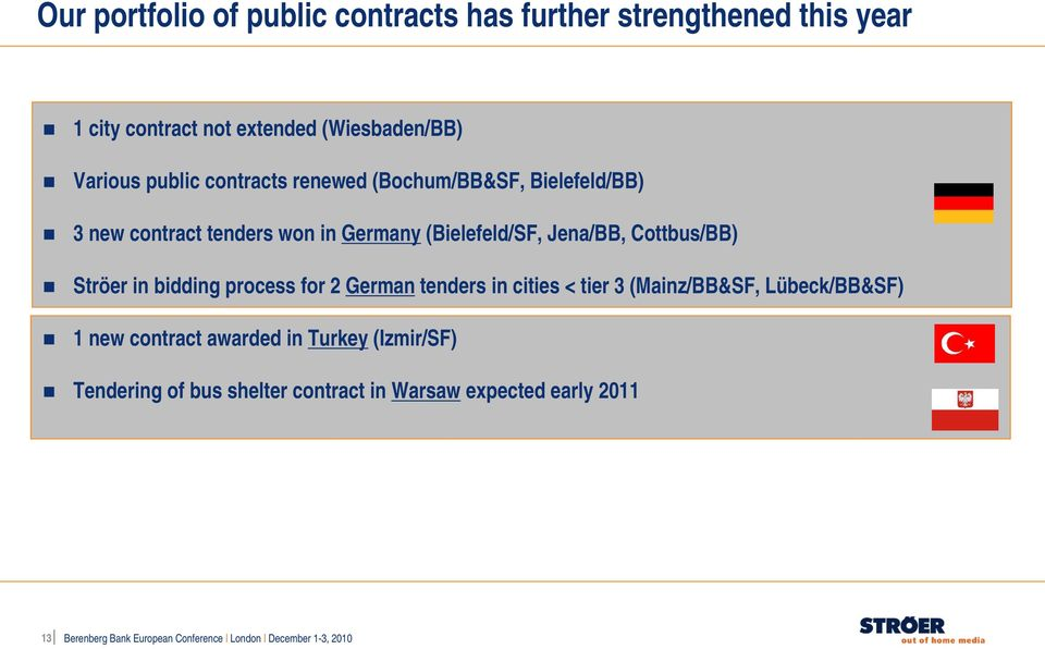 in bidding process for 2 German tenders in cities < tier 3 (Mainz/BB&SF, Lübeck/BB&SF) 1 new contract awarded in Turkey