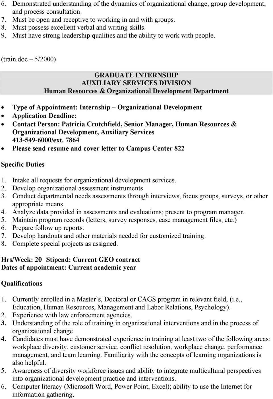 doc 5/2000) GRADUATE INTERNSHIP AUXILIARY SERVICES DIVISION Human Resources & Organizational Development Department Type of Appointment: Internship Organizational Development Application Deadline: