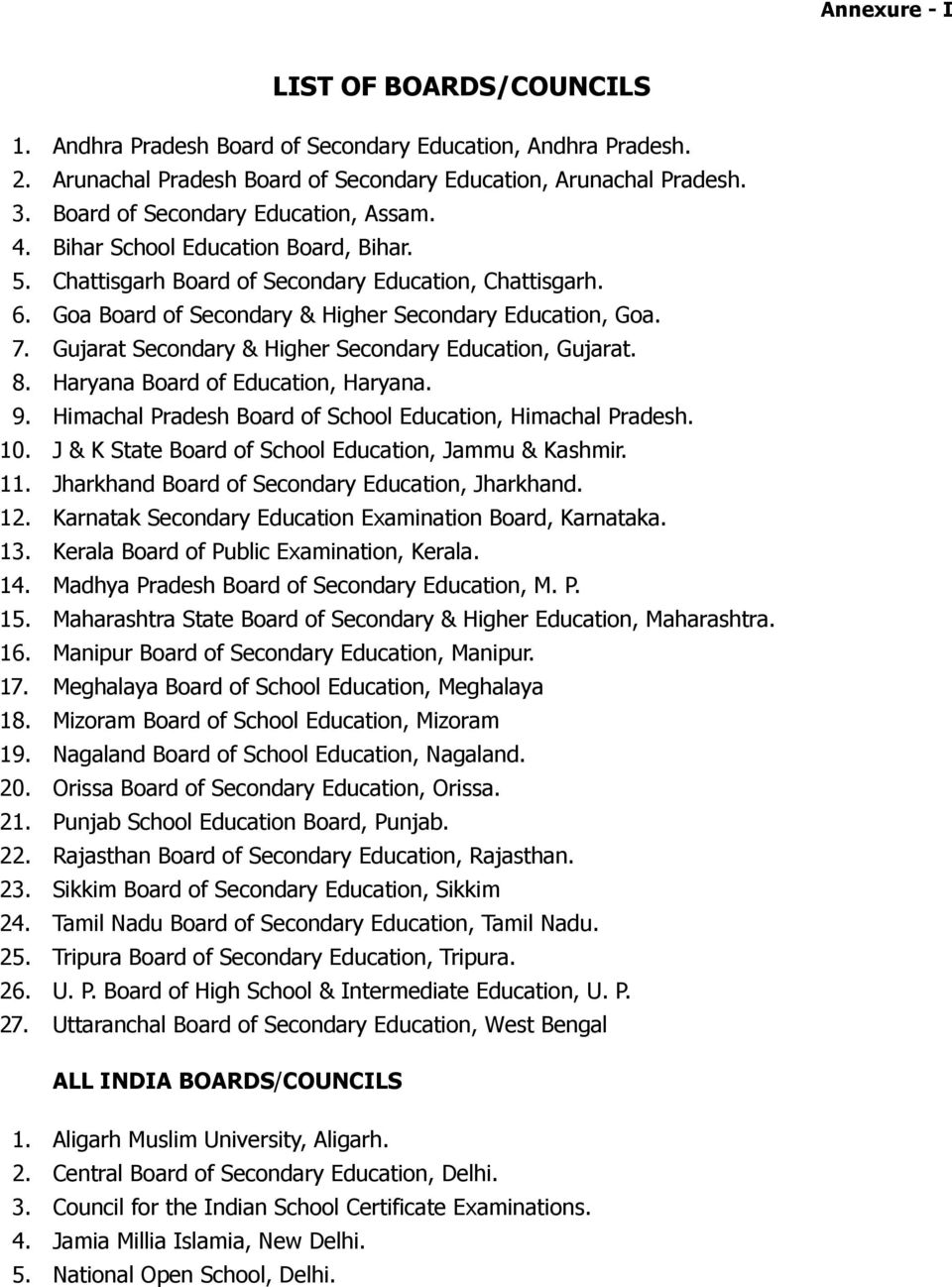 Gujarat Secondary & Higher Secondary Education, Gujarat. 8. Haryana Board of Education, Haryana. 9. Himachal Pradesh Board of School Education, Himachal Pradesh. 10.