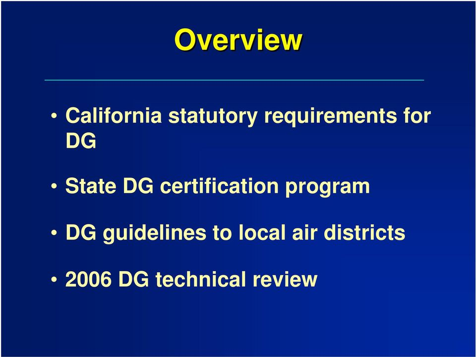 certification program DG guidelines