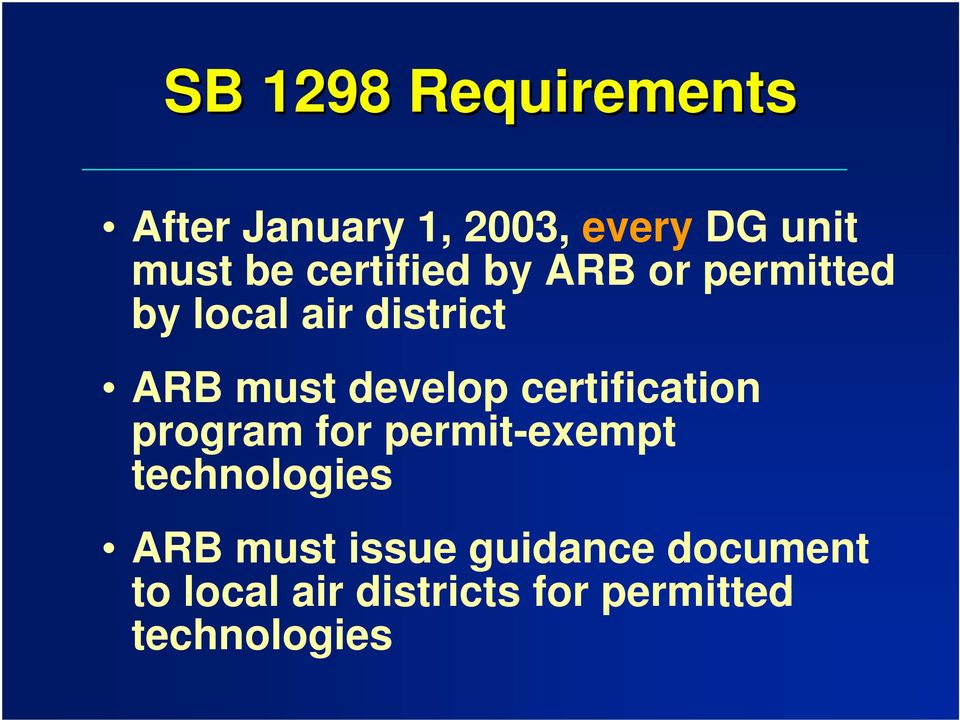 develop certification program for permit-exempt technologies ARB