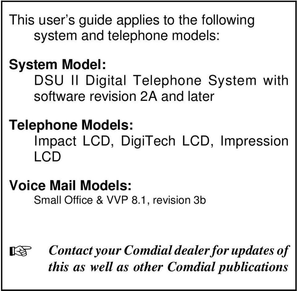 ImpactLCD,DigiTechLCD,Impression LCD Voice Mail Models: Small Office & VVP 8.