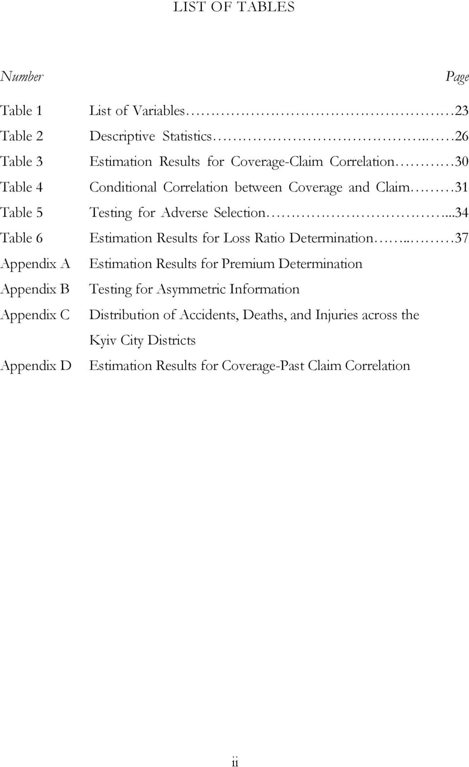 26 Estmaton Results for Coverage-Clam Correlaton 30 Condtonal Correlaton between Coverage and Clam 31 Testng for Adverse Selecton.