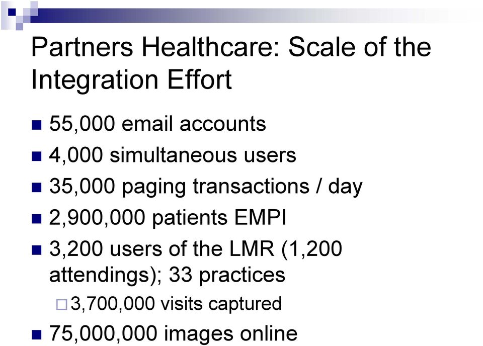 day 2,900,000 patients EMPI 3,200 users of the LMR (1,200