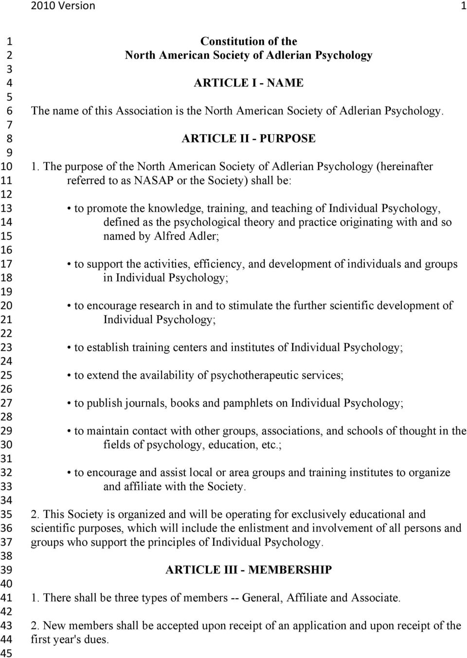 The purpose of the North American Society of Adlerian Psychology (hereinafter referred to as NASAP or the Society) shall be: to promote the knowledge, training, and teaching of Individual Psychology,