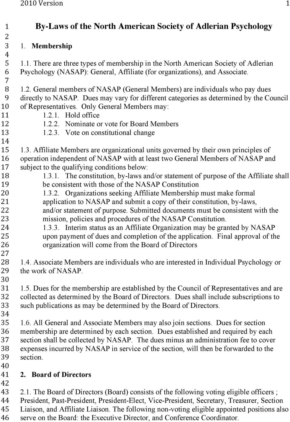 .. General members of NASAP (General Members) are individuals who pay dues directly to NASAP. Dues may vary for different categories as determined by the Council of Representatives.