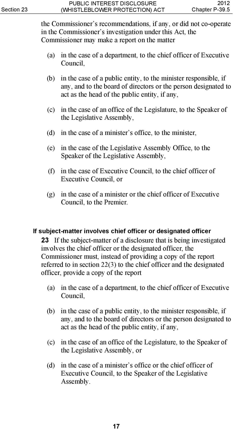 head of the public entity, if any, (c) in the case of an office of the Legislature, to the Speaker of the Legislative Assembly, (d) in the case of a minister s office, to the minister, (e) in the