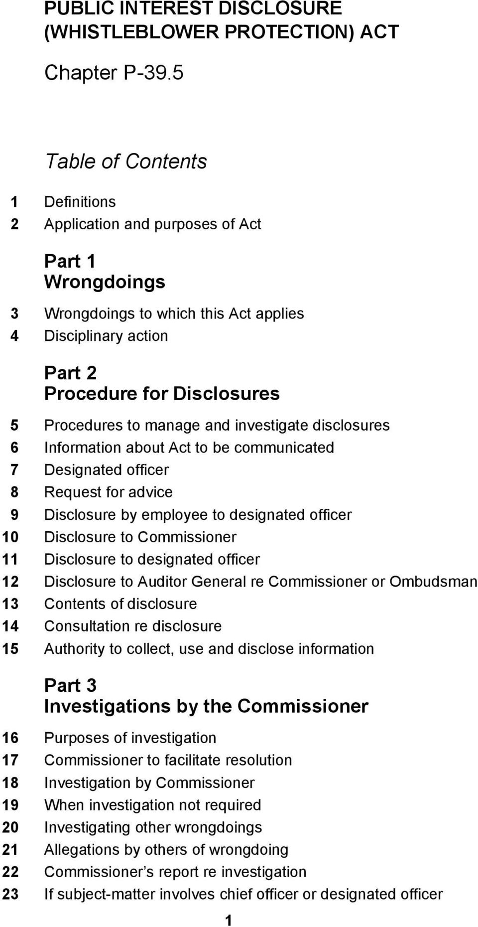 Disclosure to designated officer 12 Disclosure to Auditor General re Commissioner or Ombudsman 13 Contents of disclosure 14 Consultation re disclosure 15 Authority to collect, use and disclose