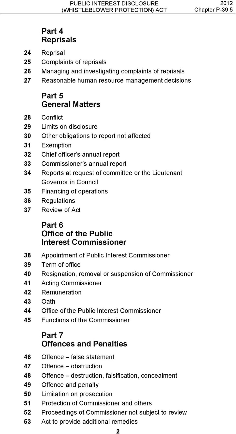 Governor in Council 35 Financing of operations 36 Regulations 37 Review of Act Part 6 Office of the Public Interest Commissioner 38 Appointment of Public Interest Commissioner 39 Term of office 40