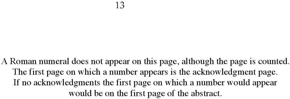 The first page on which a number appears is the acknowledgment