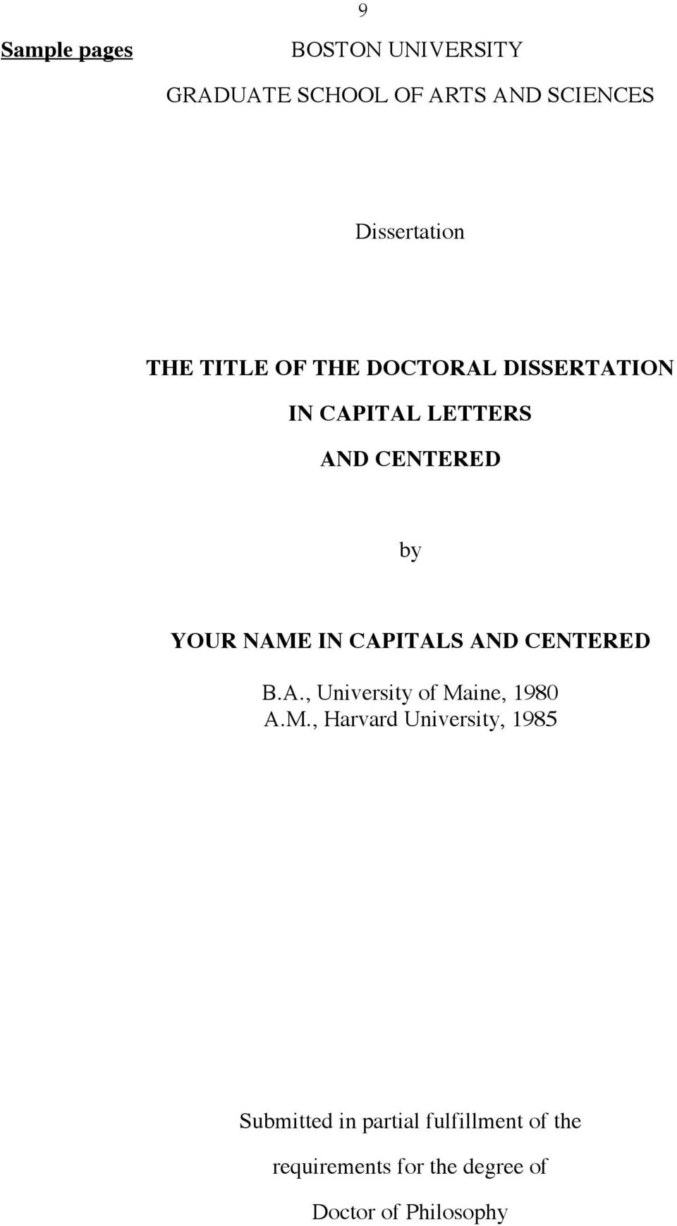 CAPITALS AND CENTERED B.A., University of Ma