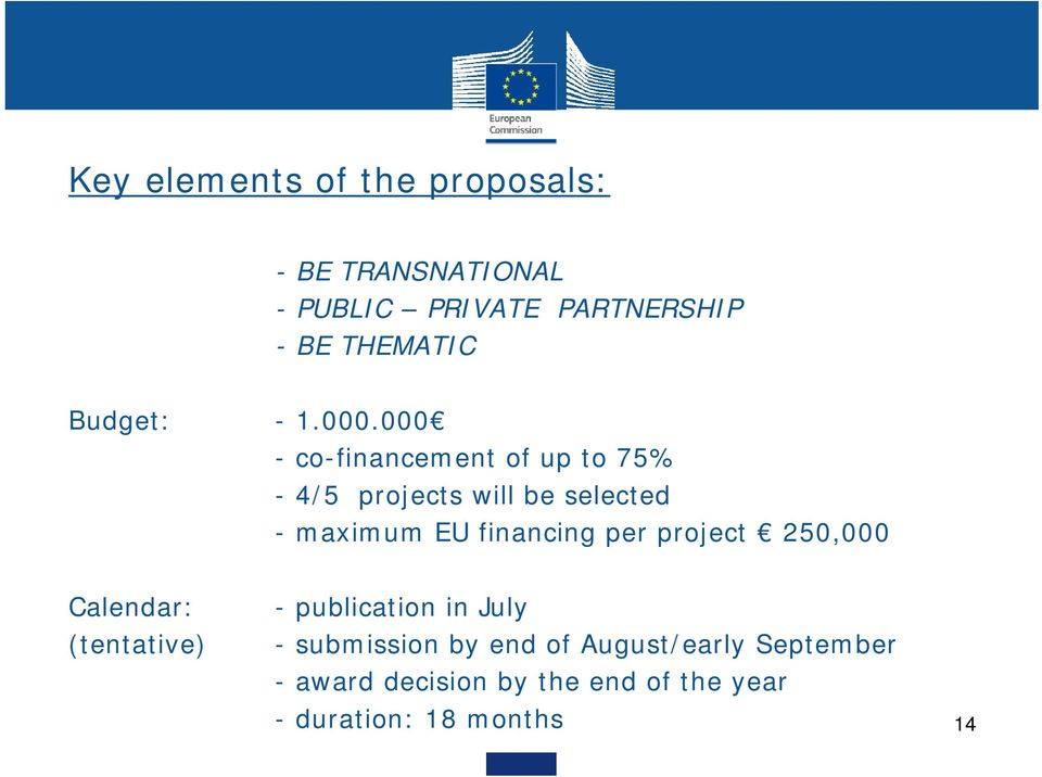 000 - co-financement of up to 75% - 4/5 projects will be selected - maximum EU financing per