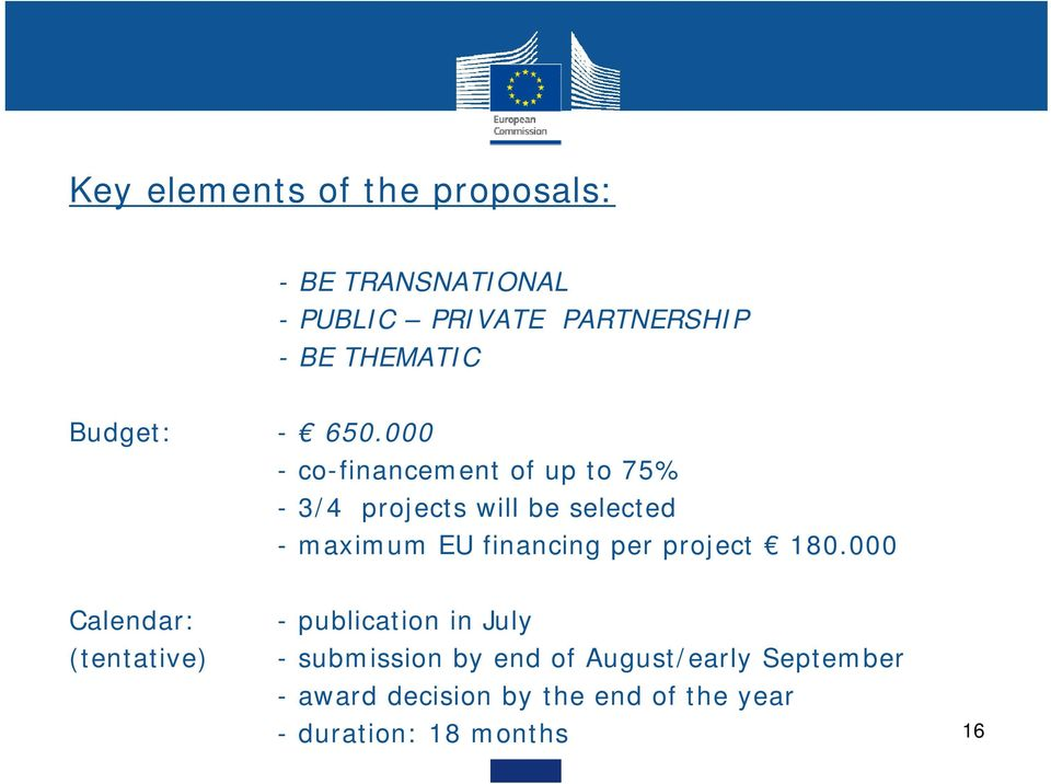 000 - co-financement of up to 75% - 3/4 projects will be selected - maximum EU financing per