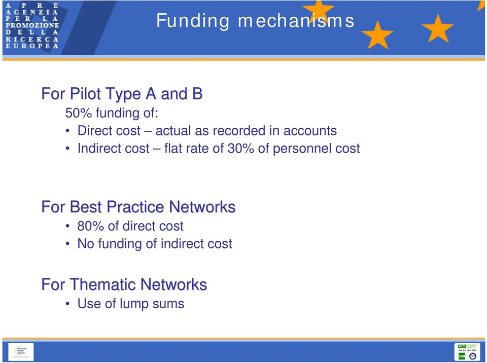 personnel cost For Best Practice Networks 80% of direct cost No