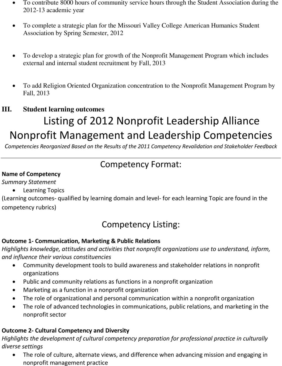 Religion Oriented Organization concentration to the Nonprofit Management Program by Fall, 2013 III.