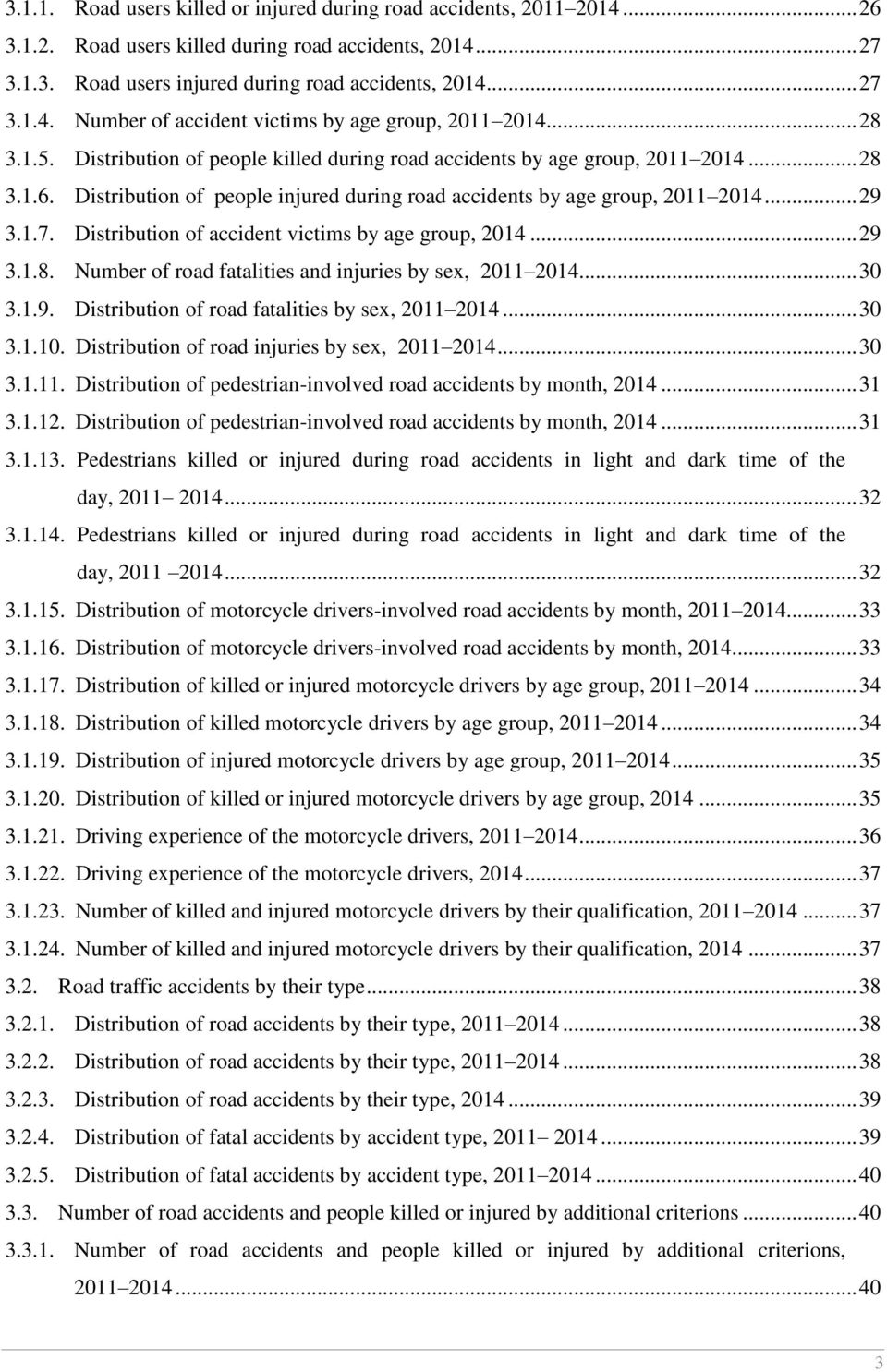Distribution of accident victims by age group, 214... 29 3.1.8. Number of road fatalities and injuries by sex, 211 214... 3 3.1.9. Distribution of road fatalities by sex, 211 214... 3 3.1.1. Distribution of road injuries by sex, 211 214.