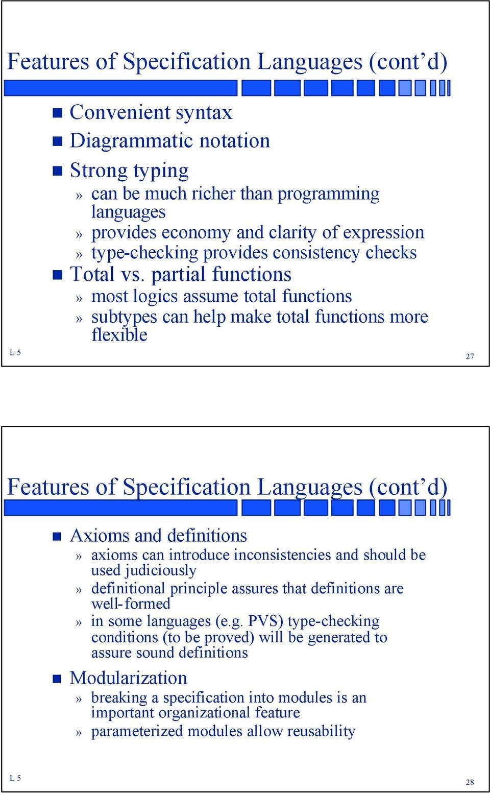 partial functions» most logics assume total functions» subtypes can help make total functions more flexible 27 Features of Specification Languages (cont d) Axioms and definitions» axioms can