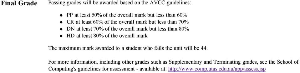 mark The maximum mark awarded to a student who fails the unit will be 44.