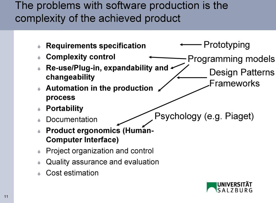 Portability Documentation Product ergonomics (Human- Computer Interface) Project organization and control
