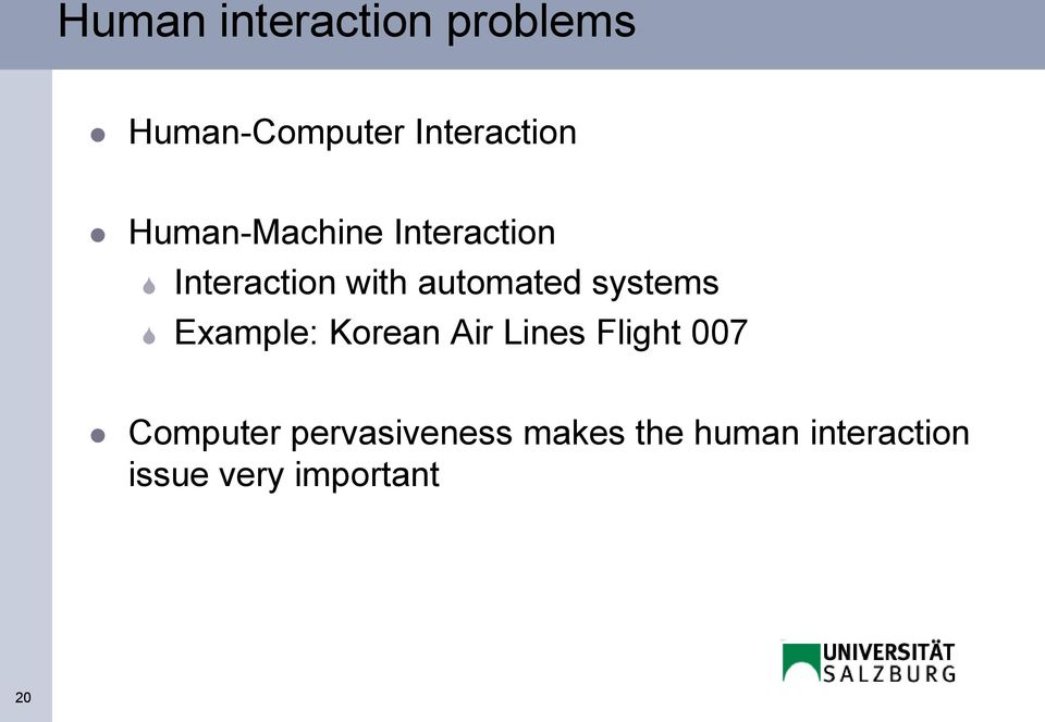 systems Example: Korean Air Lines Flight 007 Computer