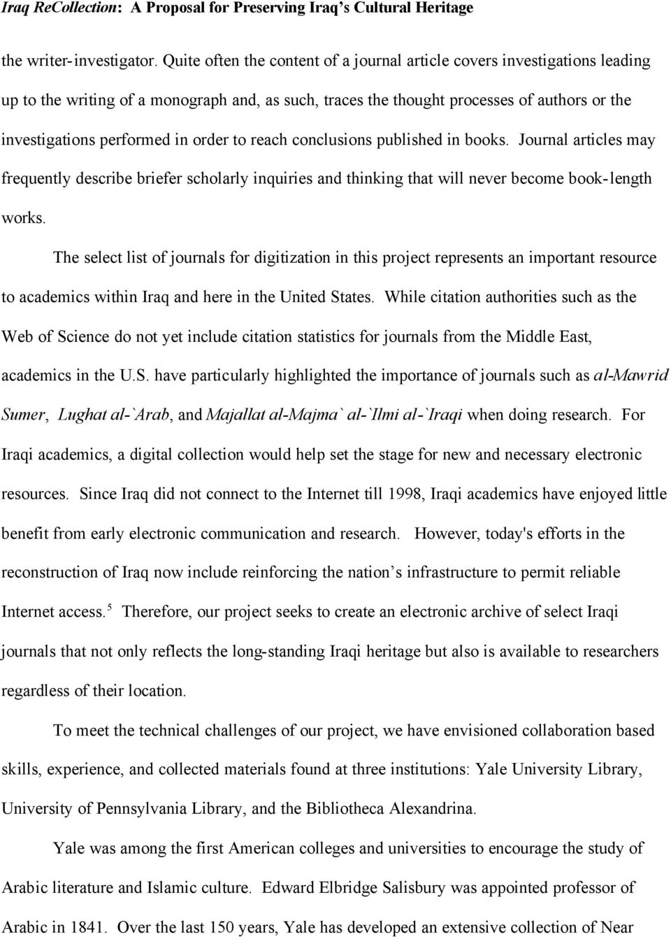 Iraq ReCollection: A Proposal for Recovering Iraq s Cultural