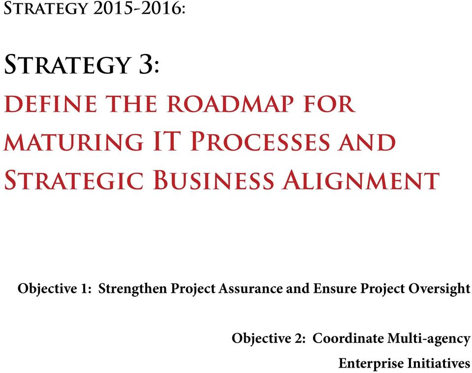 1: Strengthen Project Assurance and Ensure Project