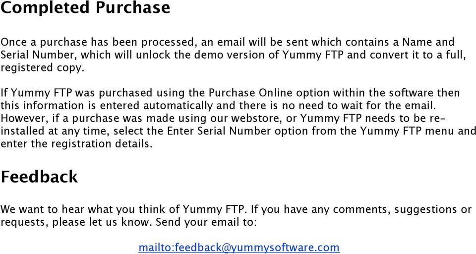 just bought yummy ftp license key what name