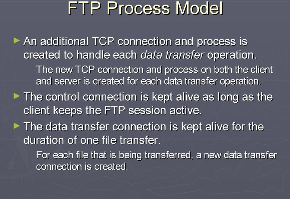 The control connection is kept alive as long as the client keeps the FTP session active.