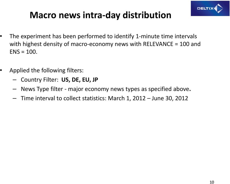 Applied the following filters: Country Filter: US, DE, EU, JP News Type filter major economy