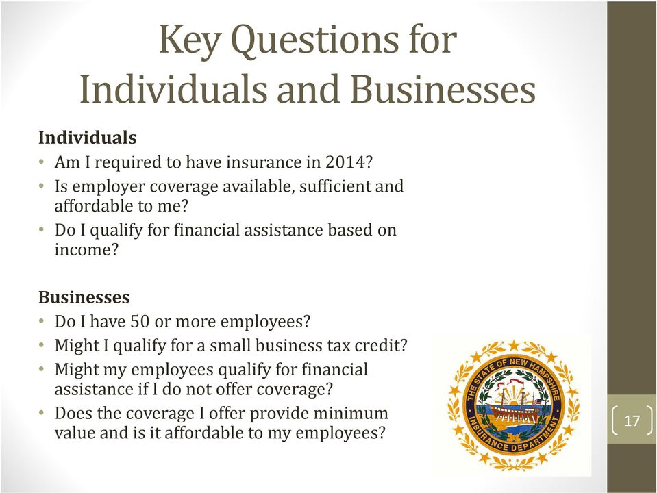 Businesses Do I have 50 or more employees? Might I qualify for a small business tax credit?