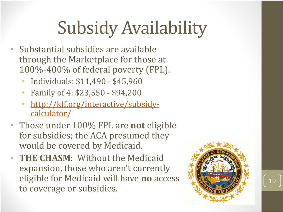 org/interactive/subsidycalculator/ Those under 100% FPL are not eligible for subsidies; the ACA presumed they would be