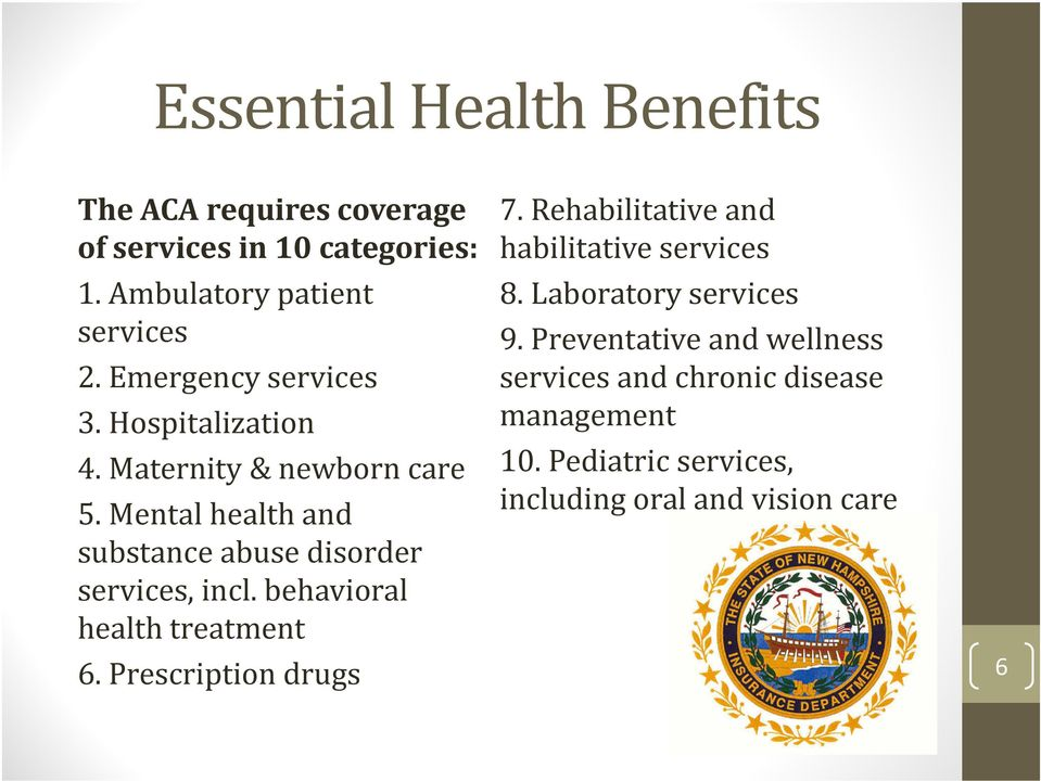 Mental health and substance abuse disorder services, incl. behavioral health treatment 6. Prescription drugs 7.