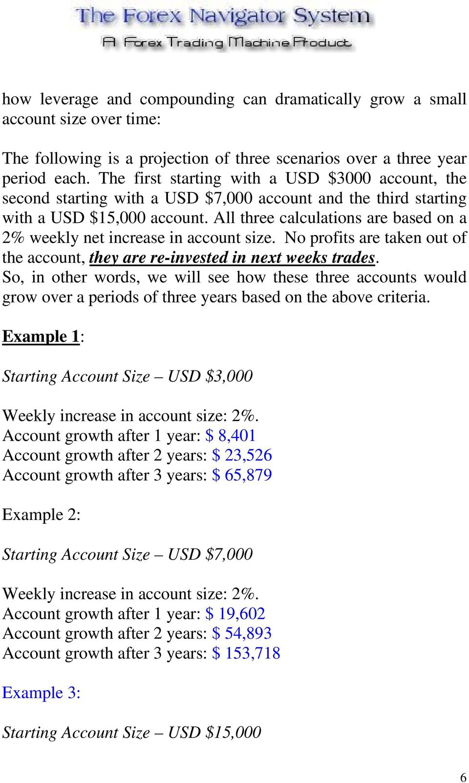 All three calculations are based on a 2% weekly net increase in account size. No profits are taken out of the account, they are re-invested in next weeks trades.